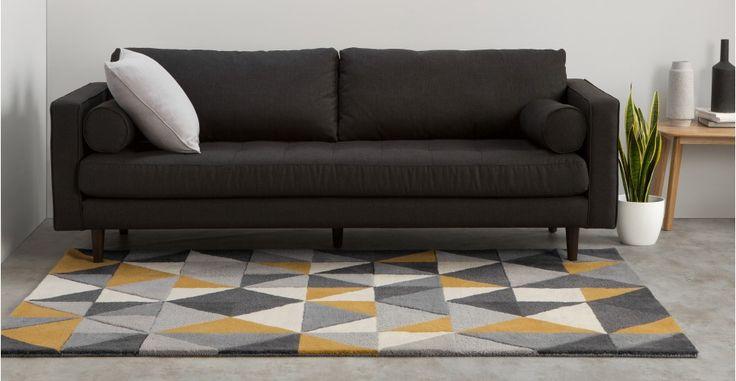 Grey Mustard Yellow Rug Wool Tufted Geometric 120 x 180cm Henrik   made.com
