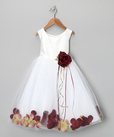 Take a look at this White & Burgundy Petal Silk Dress - Infant, Toddler & Girls by Kid's Dream on #zulily today!