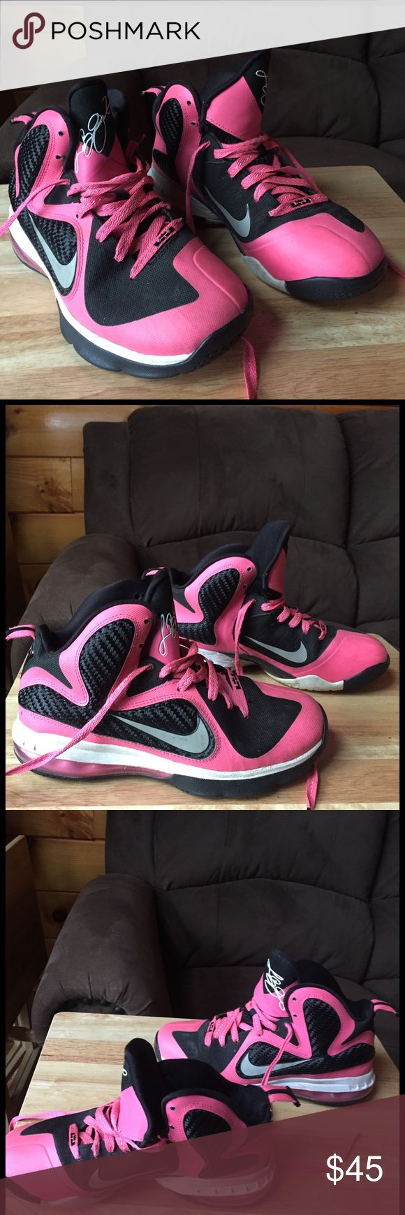 Nike Lebron James *THESE NEED TO GO!* Nike brand. Lebron James style. Pink, black, white in color. Condition is pre-owned with the usual defects as pictured. I wore them for a season of high school basketball. Size 6Y which I believe is equivalent to a women's 8! Reasonable offers accepted. Nike Shoes Sneakers