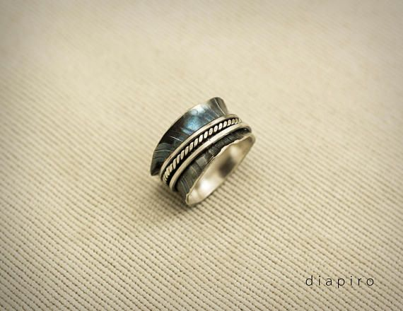 Silver Spinner Ring Sterling Silver Band Oxidized