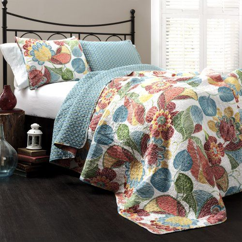 Lush Decor Layla 3-Piece Quilt Set, Queen, Orange/Blue Lush Decor http://www.amazon.com/dp/B00KATFJRA/ref=cm_sw_r_pi_dp_yqhEvb1FGJPTN