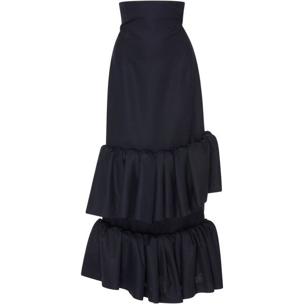 Jacquemus Tiered Ruffle Long Skirt ($765) ❤ liked on Polyvore featuring skirts, bottoms, navy, high waisted skirts, blue maxi skirt, navy blue skirt, high-waist skirt and long navy skirt