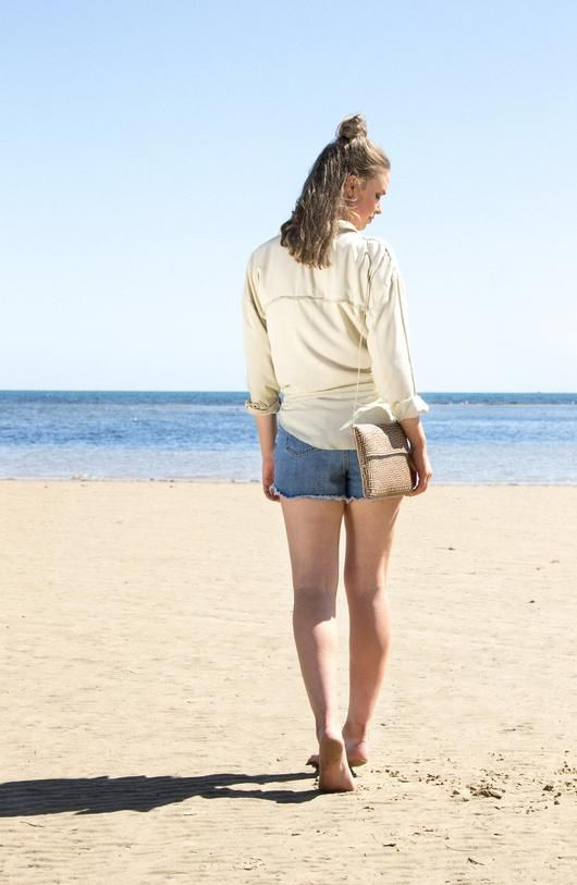 The Knot Top - Sandy Beige - The Knot Top is the staple of knotted shirts. Made in a flattering rayon fabric, it features fringed details on pockets and back... Made with love in Bali.