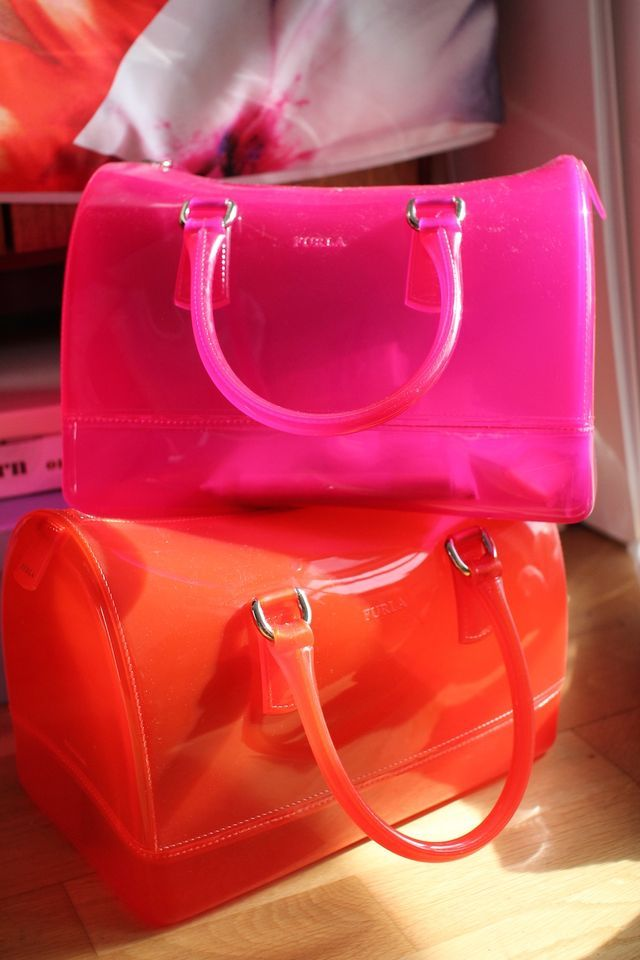 Furla Jelly bags in pink & orange