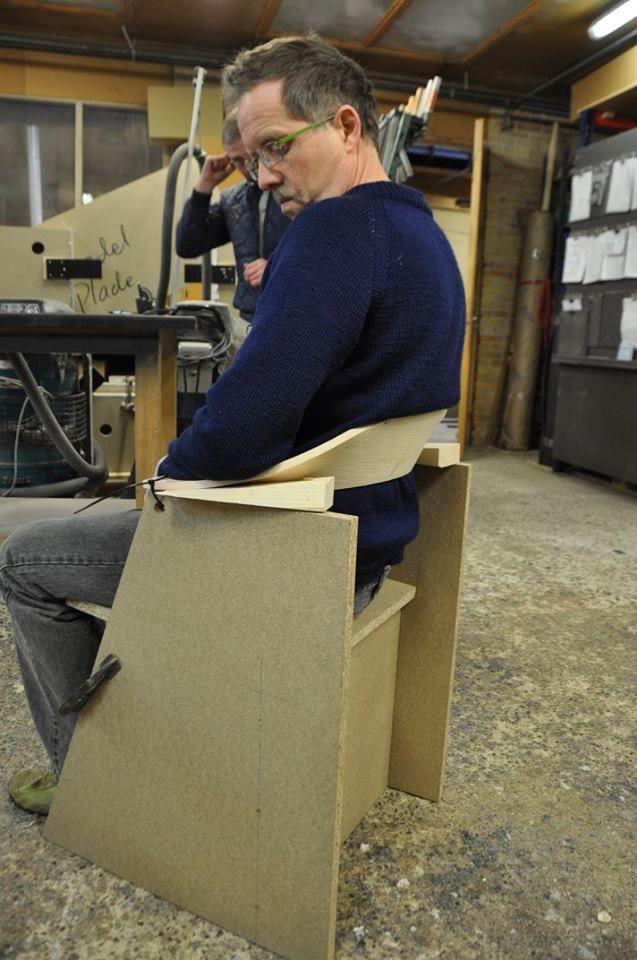 Prototyping chair by designer Henrik Sørig Thomsen. Testing position of the backrest. http://www.kjeldtoft.com/