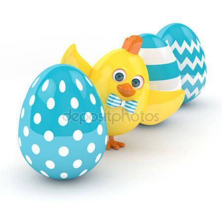 3d render of Easter chick with eggs — Stock Photo © ayo888 #143014923