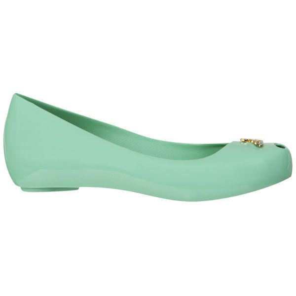 Vivienne Westwood For Melissa Women's Ultragirl Ballet Pumps ($25) ❤ liked on Polyvore featuring shoes, flats, pastel green orb, sapatilha, hidden wedge shoes, slip on flats, wedge ballet flats, slip-on shoes and ballet pumps