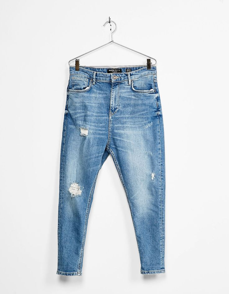 Carrot fit ripped jeans - Jeans - Bershka Indonesia