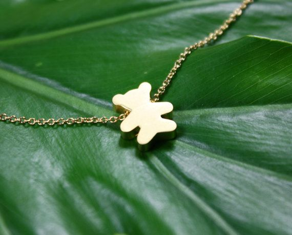 Teddy Bear Gold Dainty Necklace adorable charm, minimal and modern, Kids Jewelry, baby shower Gifts, Jewelry