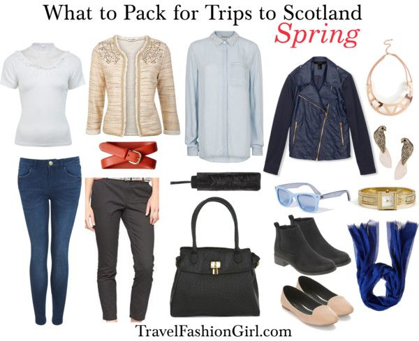 What to Pack for Trips to Scotland  What to Pack for Glasgow/Edinburgh in Spring Spring is the best season to plan trips to Scotland. April is the sunniest and warmest month of the season. The temperature varies from 5-20 C / 40-68 F, but it's quite chilled all the time. While the weather may be mild, it can still rain really badly. A waterproof jacket such as a trench coat is your best friend all the time. You can wear a cotton sweater or cardigan with a long sleeves shirt underneath…