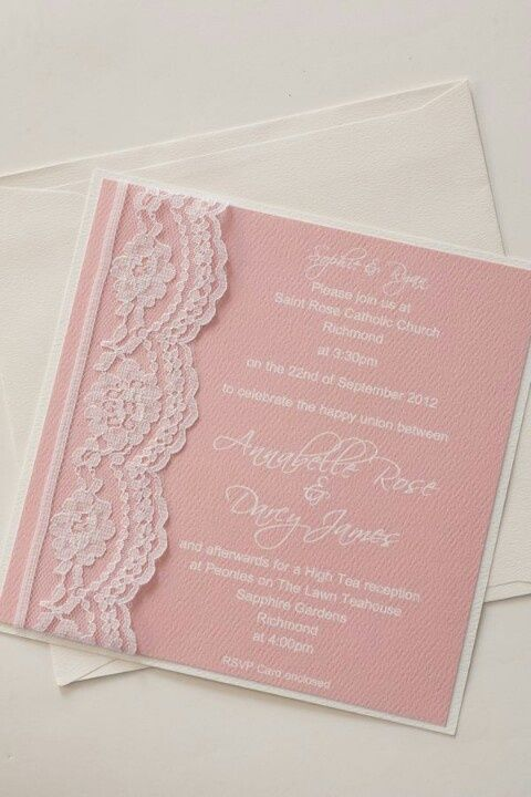 Soft pink and lace invitation