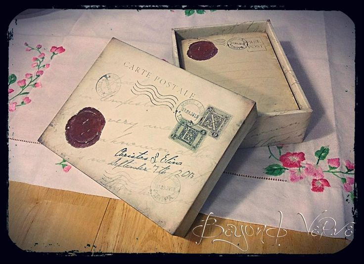 Carte postale wish cards with box - Sealing wax - Vintage wedding stationery - Beyond Verve