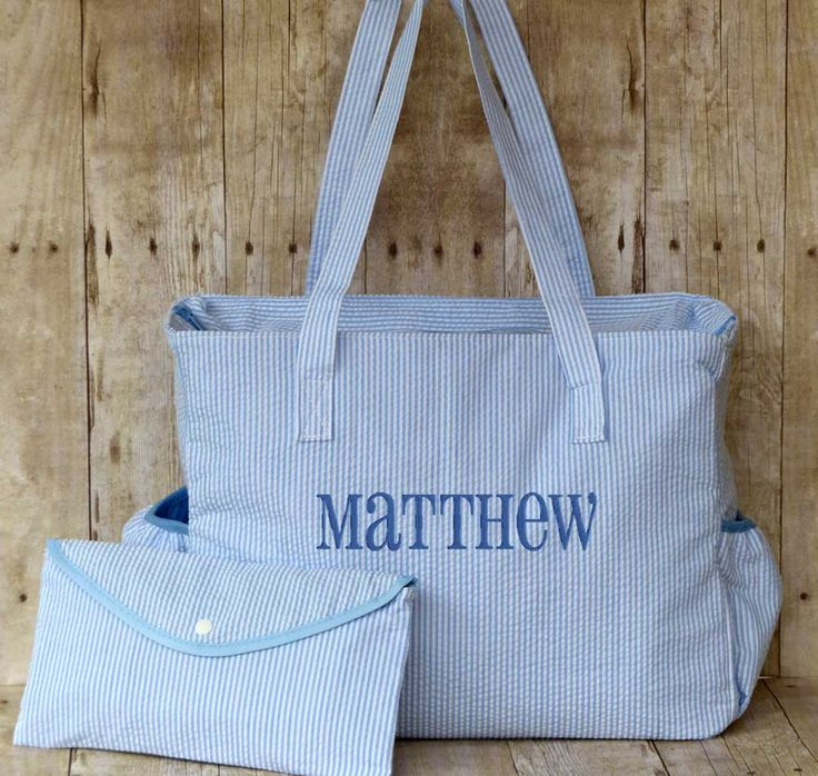 16 best personalized diaper bags images on pinterest personalized diaper bag blue seersucker negle Image collections