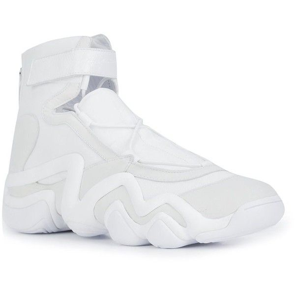 Yohji Yamamoto boxing hi-top sneakers ($445) ❤ liked on Polyvore featuring shoes, sneakers, hi tops, white sneakers, white shoes, yohji yamamoto sneakers and white trainers
