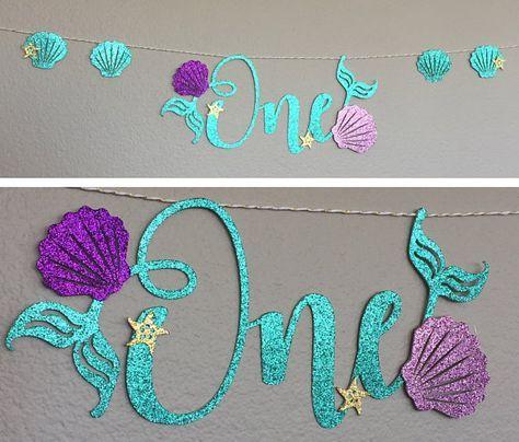 One Banner Little Mermaid Ariel High Chair First Birthday Script Cursive Glitter sea shells starfish mermaid tail fins