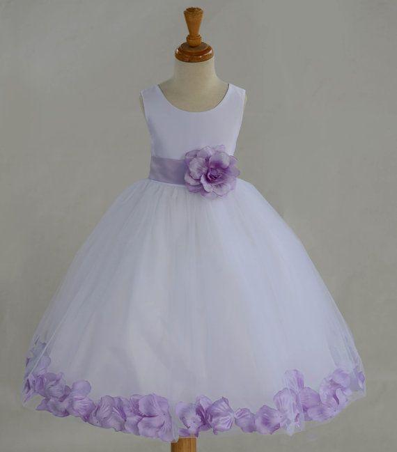 Pétalos blanco flor chica vestido arco faja por ekidsbridalusa