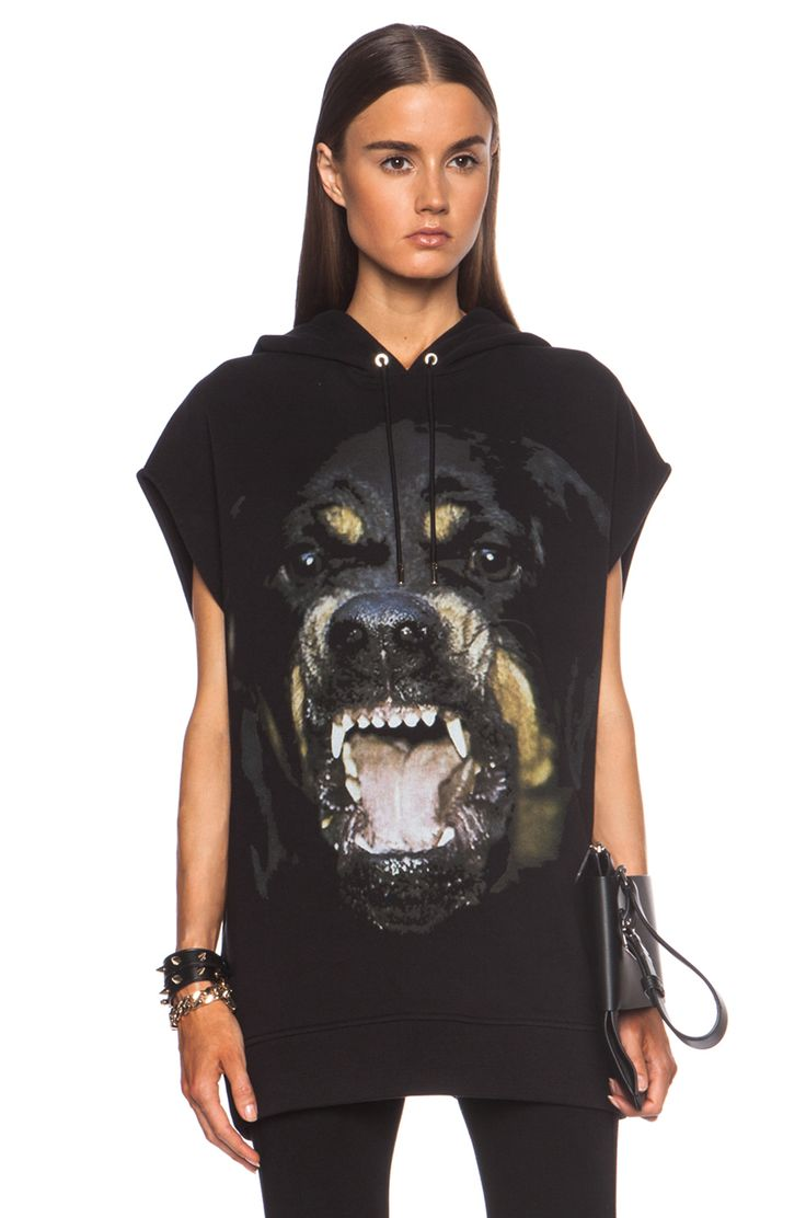 Image 1 of GIVENCHY Sleeveless Rottweiler Cotton Hoodie in Black