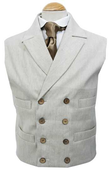 CT035LFC Linen Double Breasted Vest with Full Collar