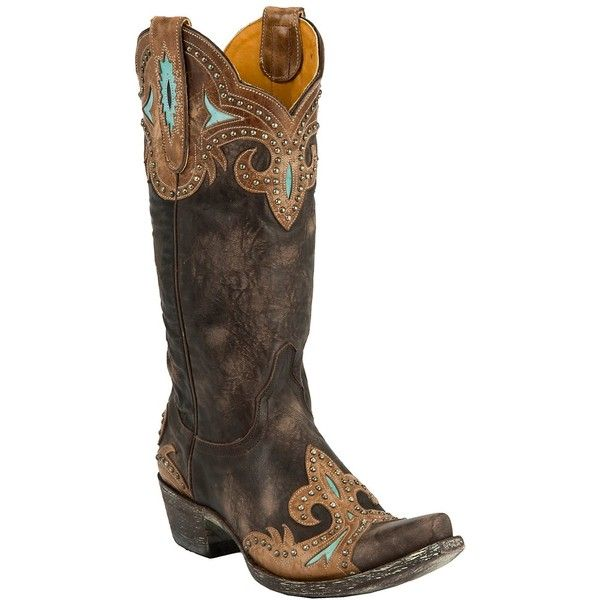 Old Gringo Ladies Taka Distressed Dark Brown w/Turquoise Studs Snip Toe Boots ($610) found on Polyvore. *sigh* 610$.......
