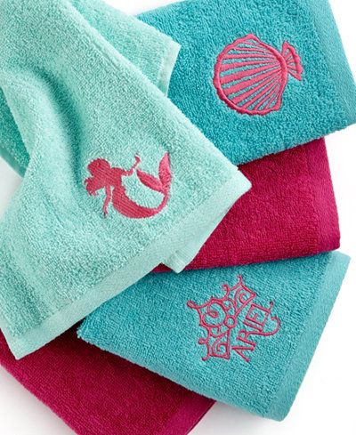 Disney Bath Accessories Little Mermaid Shimmer And Gleam 5 Piece Washcloth Set