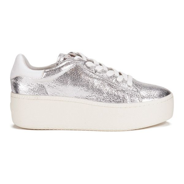 Ash Women's Cult Metal Rock/Nappa Wax Flatform Trainers ($94) ❤ liked on Polyvore featuring shoes, sneakers, silver, rubber sole shoes, low top, ash trainers, flatform shoes and ash shoes