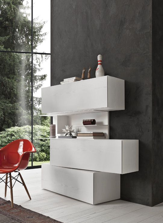 PRESOTTO | InclinART Totem. Base unit, bookcase and wall unit in bianco candido color wood.__ Totem InclinART. Base, libreria e pensili in color wood bianco candido.