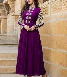 Buy Purple embroidered georgette semi stitched salwar with dupatta anarkali-salwar-kameez online