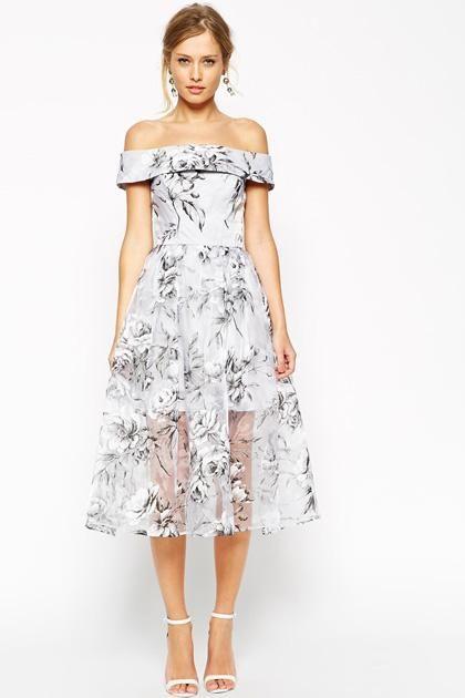 Short prom dresses!: Floral midi dress, strapless and elegant