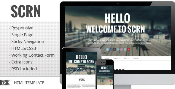 SCRN - Responsive Parallax Template - ThemeForest Item for Sale