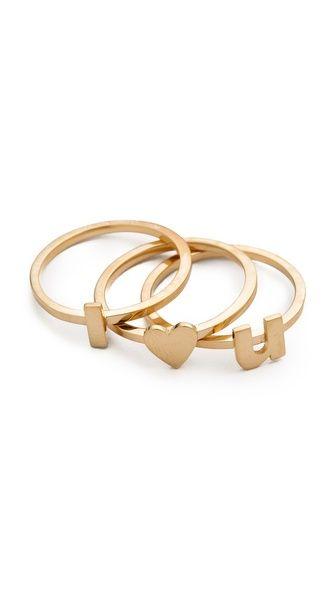 Jennifer Zeuner Jewelry I Heart U Ring Set
