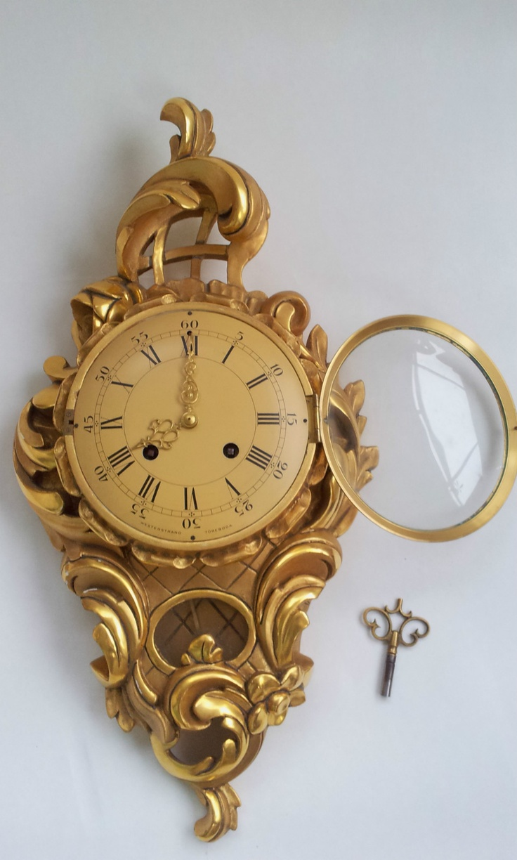 louis xvi gild wood handcrafted cartel wall clock antique