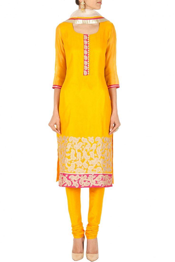 Yellow embroidered kurta set BY SVA. Shop now at perniaspopupshop.com