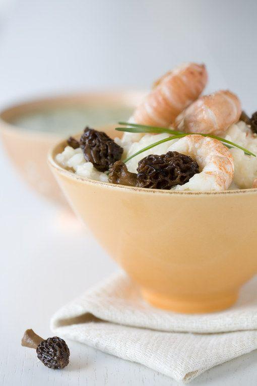 Risotto aux langoustines et aux morilles, les végétariens qui ne mangent pas de fruits de mer pourront l'apprécier sans les langoustines ; les morilles apportant un réelle touche de gourmandise