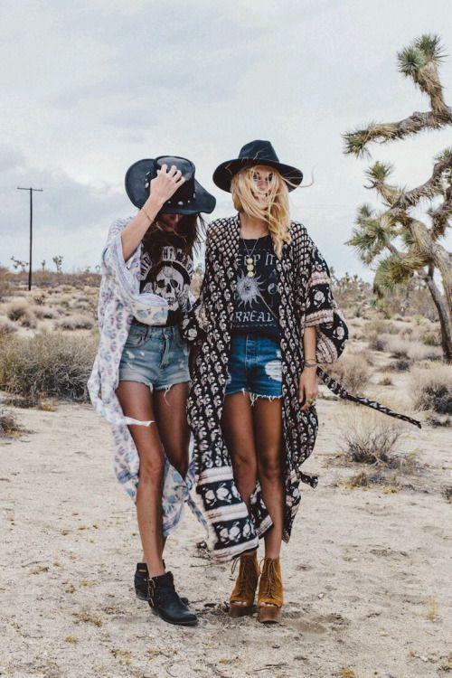 Boho bohemian girls with hats kimonos tshirts and jean shorts