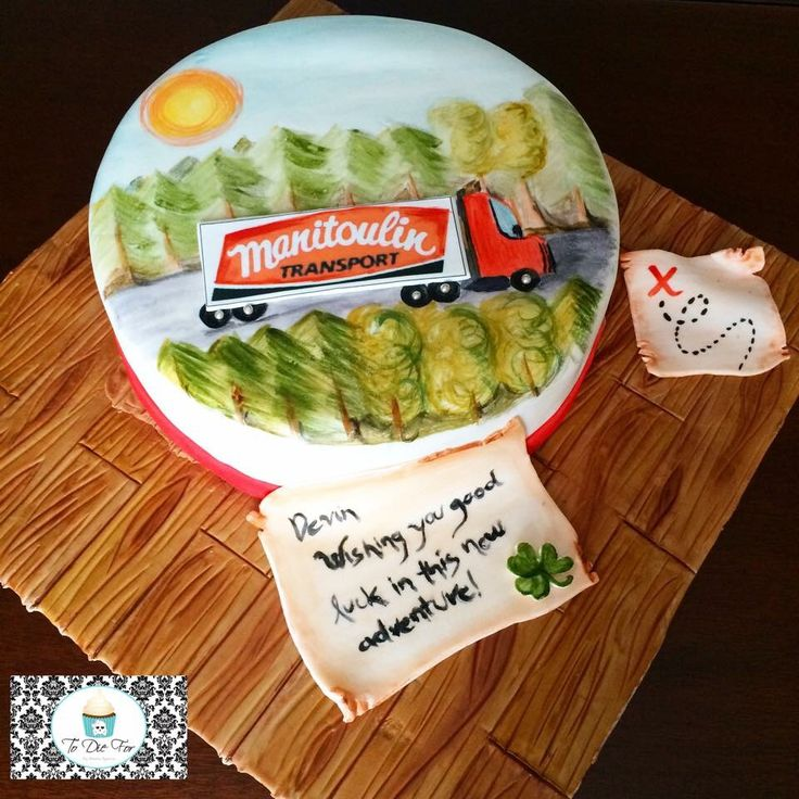 Hand painted truck on a cake!