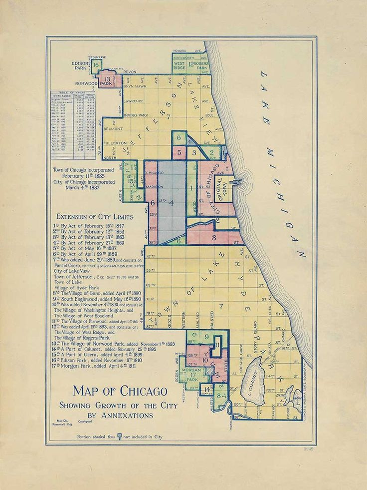 Chicago Map Grid%0A Map of Chicago Showing Growth Through Annexation from       Cartographers  Union