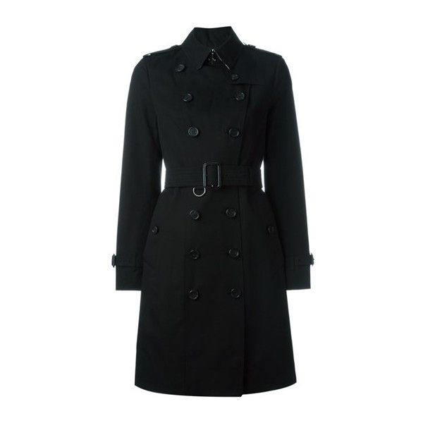 BURBERRY Sandringham Classic Trench Coat ($2,077) ❤ liked on Polyvore featuring outerwear, black, burberry coat, button trench coat, burberry, double-breasted coats and double-breasted trench coat