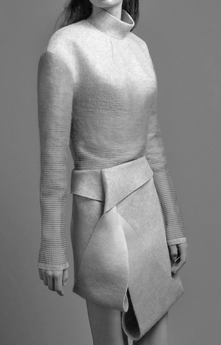 Felted Fashion with twist & fold skirt - fabric manipulation; textile techniques; contemporary fashion design detail // Dion Lee