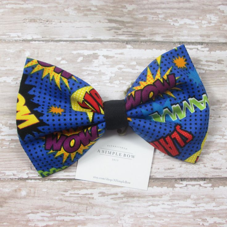 Comic Book Bow - Superhero Bow - Hair Bow - Rockabilly Hair Bow - Hair Bows - Hair Bows for Girls - Hair Bows for Teens - Hair Bow Clip by ASimpleBow on Etsy
