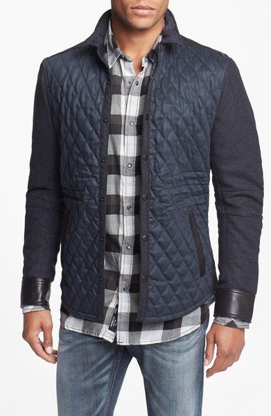 Quilted Jacket with Wool Sleeves and Leather Trim - Lyst