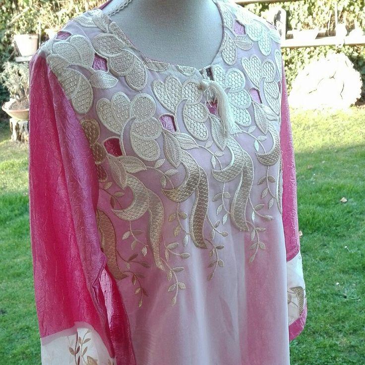 Vestito VINTAGE Dress woman kaftano etnico rosa cerimonia sari India