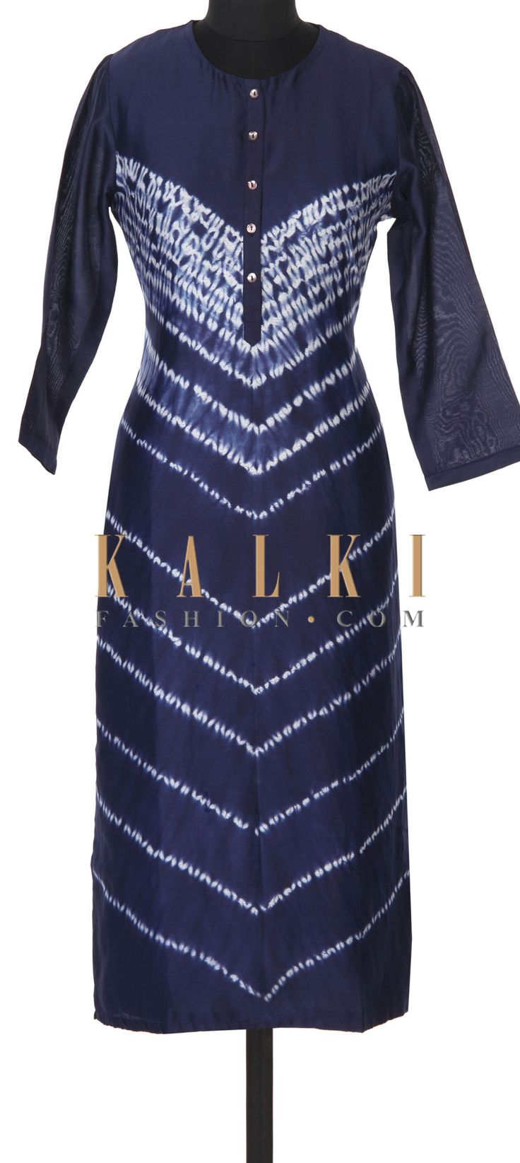 Buy this Navy blue kurti adorn in tie and dye only on Kalki