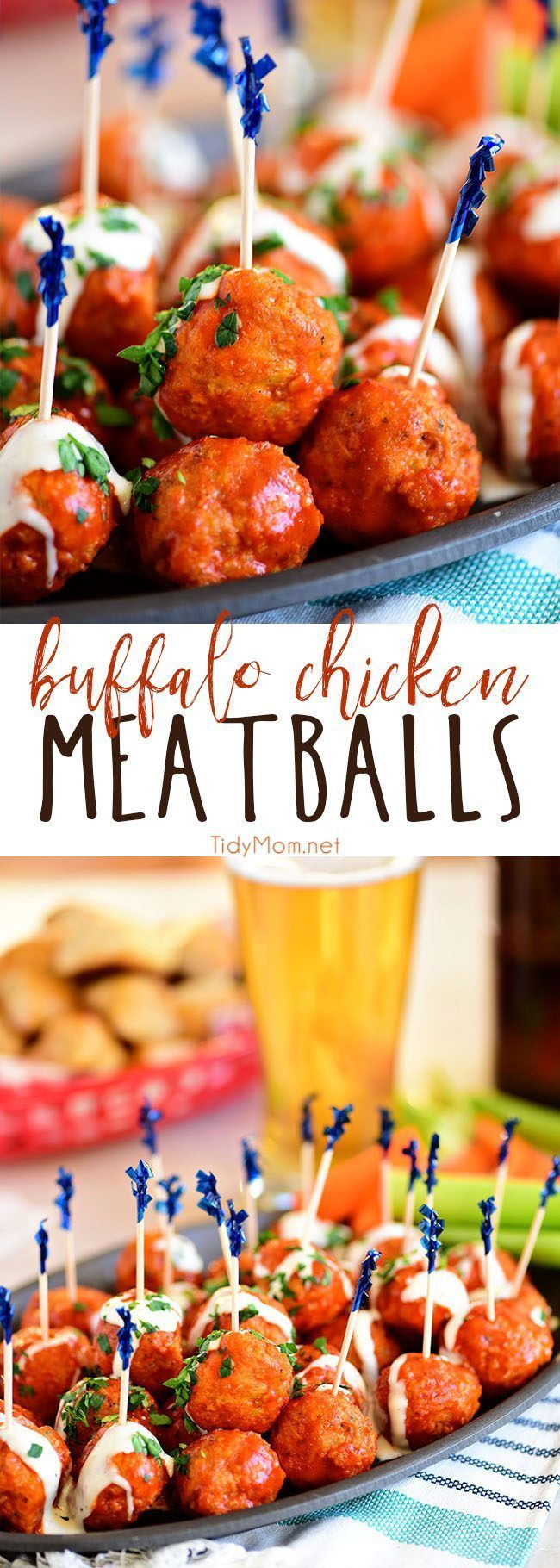 Crowd pleasing Buffalo Chicken Meatballs with ranch have all the flavors of buffalo hot wings, with out the guilt. Get this finger-lickin' good appetizer recipe at TidyMom.net