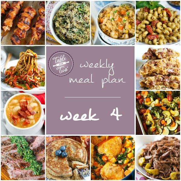 Week 4 of Table for Two's weekly meal plan. You'll love dinners again if you just plan your meals!