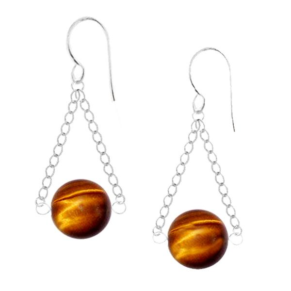 A captivating 8mm Tiger's Eye gemstone is suspended from sterling silver link chain and set on a sterling silver hook. These earrings sway gracefully with every turn of your head.