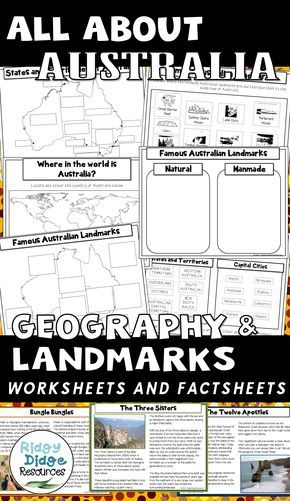 All about Australia - Geography and Landmarks worksheets and factsheets ready to print for your classrom. #australiangeography #classroomprintable #allaboutaustralia