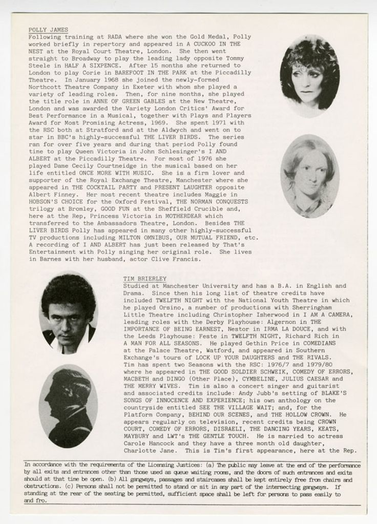 """A page from """"Hawarth"""" by Beverley Cross, at the Rep in 1981."""