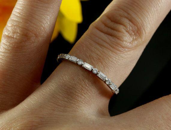 Half Way Eternity Diamond Wedding Band by KaratJewelryGroup