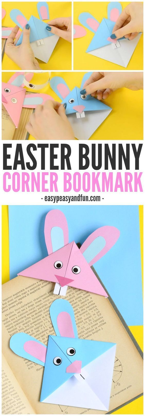 Easter Bunny Corner Bookmark!! Easy beginner origami for kids! Loads of Fun making these.