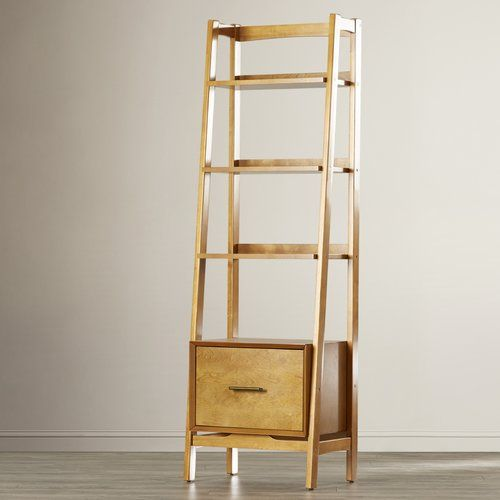 """Found it at Joss & Main - Naomi 70"""" Leaning Bookcase -- something like this beside the fireplace to hold all the electronics?"""